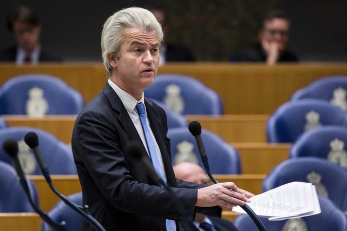 PVV leider Geert Wilders tijdens het Tweede Kamerdebat over de instroom van asielzoekers. ANP VALERIE KUYPERS
