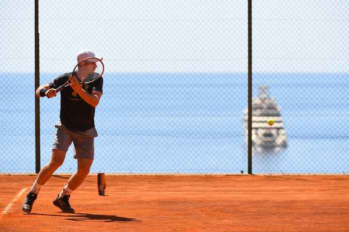 Andy Murray in actie in Monte Carlo.