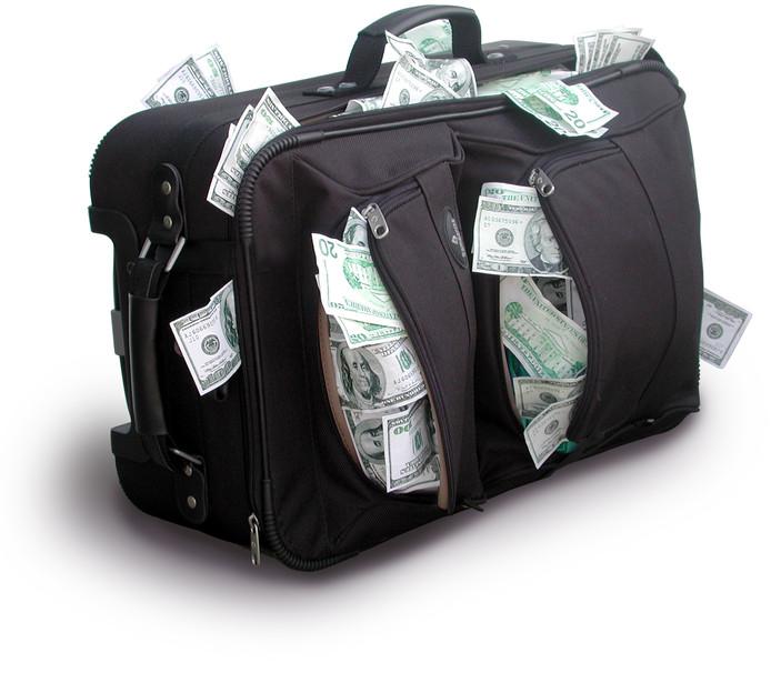 Koffer geld bulken van het geld rijk rich fraude pgb oplichting