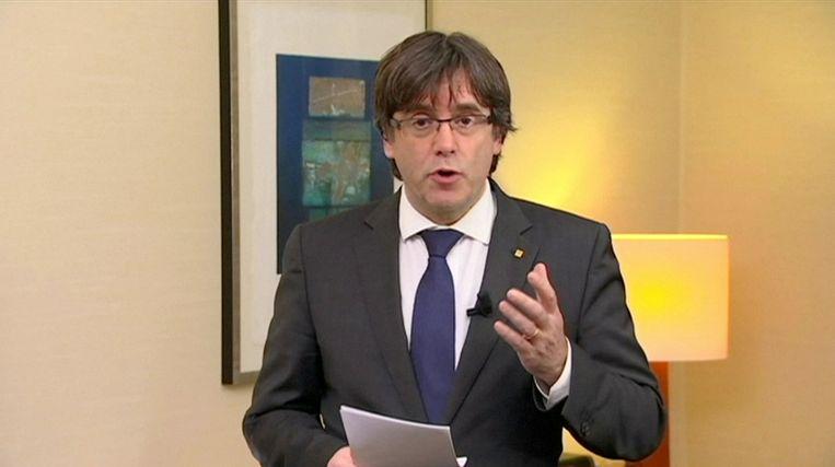 Carles Puigdemont  op het moment dat hij een videoverklaring aflegde in Brussel.