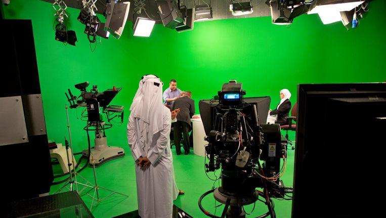 De tv-studio van Al Jazeera in Doha, Qatar. Beeld getty