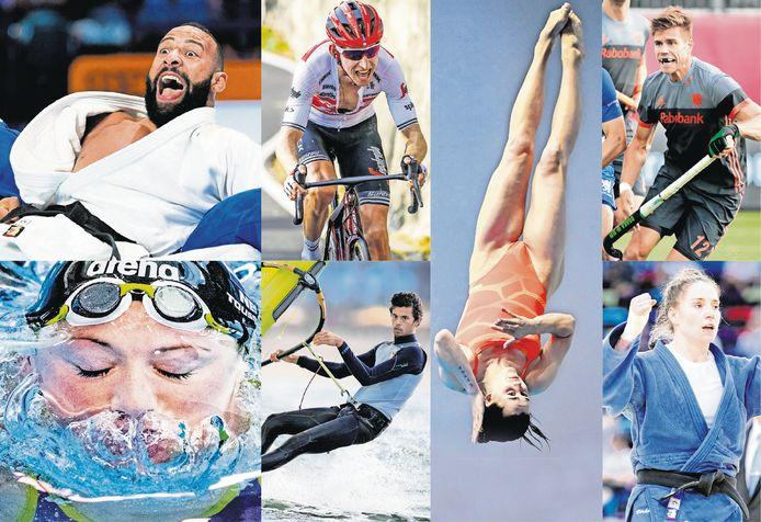 Van linksboven met de klok mee: Roy Meyer, Bauke Mollema, Inge Jansen, Sander de Wijn, Marhinde Verkerk, Kira Toussaint, Kiran Badloe.