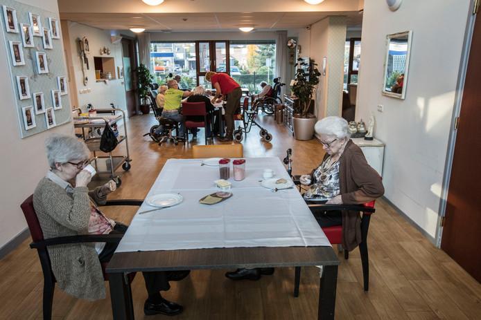 De huiskamer van de gesloten afdeling van zorgcentrum Taxandria in Valkenswaard.