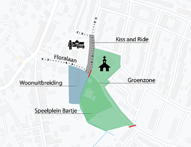 Het voorstel ligt op tafel om de Floralaan op te breken en de straat te vervangen door groen om het speelplein Bartje uit te breiden richting kerk.