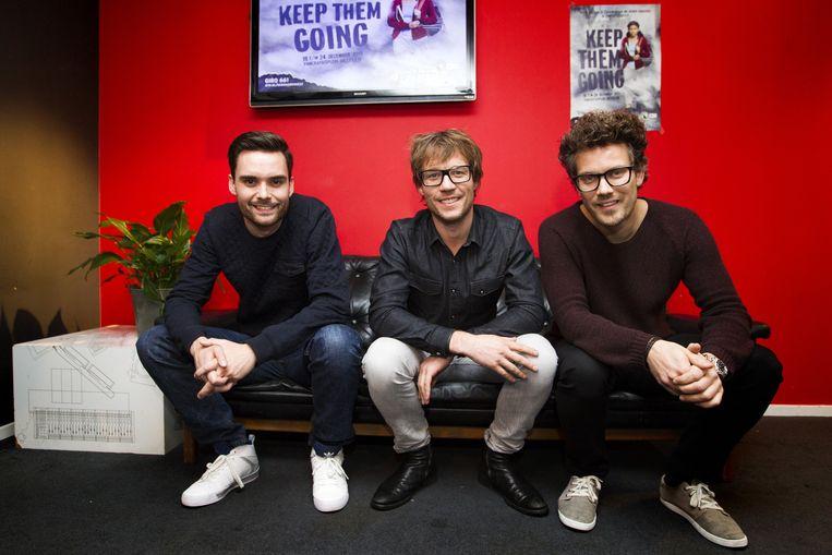 Dj's Giel Beelen, Paul Rabbering en Domien Verschuuren laten zich dit jaar opsluiten in het Glazen Huis in Heerlen voor 3FM Serious Request Beeld anp