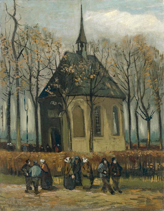 Het uitgaan van de Hervormde Kerk te Nuenen.