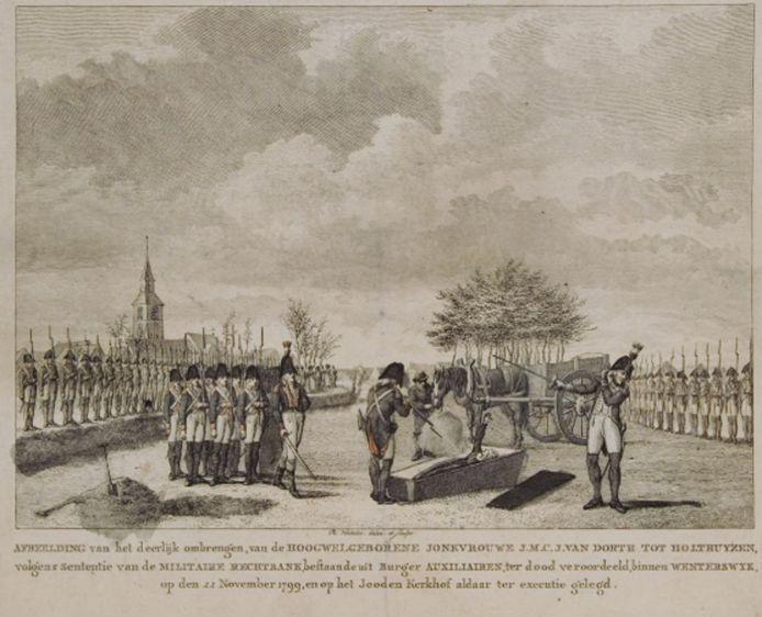 Prent waarop de executie van de freule dan wel het 'genadeschot' is afgebeeld.