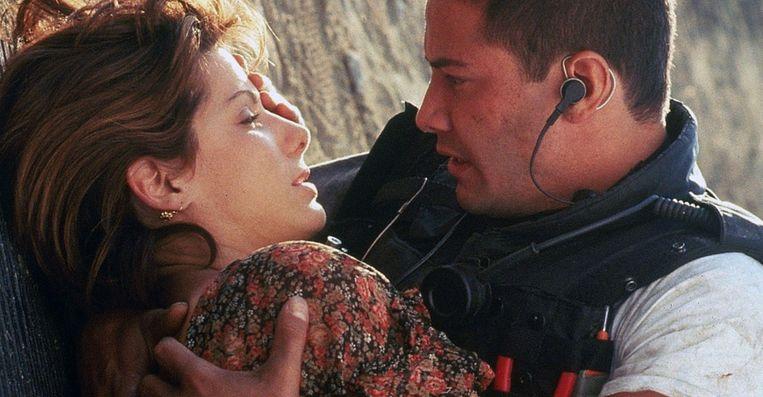 Sandra Bullock en Keanu Reeves in 'Speed' van Jan de Bont. Beeld