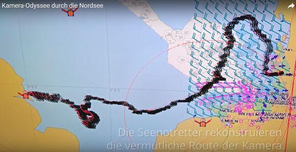 De Duitse kustwacht reconstrueerde de reis van de camera over de Noordzee.