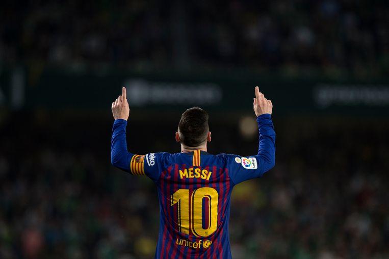 Lionel Messi blijft nog minstens een jaar te bewonderen in Camp Nou. Beeld AFP
