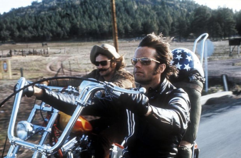 Dennis Hopper (l) en Peter Fonda in 'Easy Rider'.