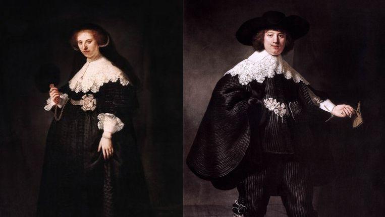 Portret van Oopjen Coppit door Rembrandt, en het bijbehorende portret van Maerten Soolmans. Beeld .