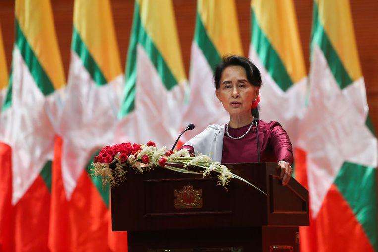Aung San Suu Kyi houdt haar toespraak.  Beeld AFP