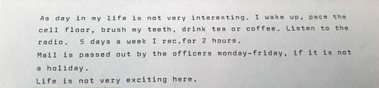 Een fragment uit een van de brieven die Pontier van Young ontving.