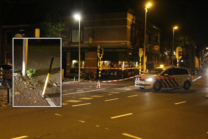 De politie zette de omgeving af om onderzoek te kunnen doen na het incident in Utrecht. Inzet: de voorhamer