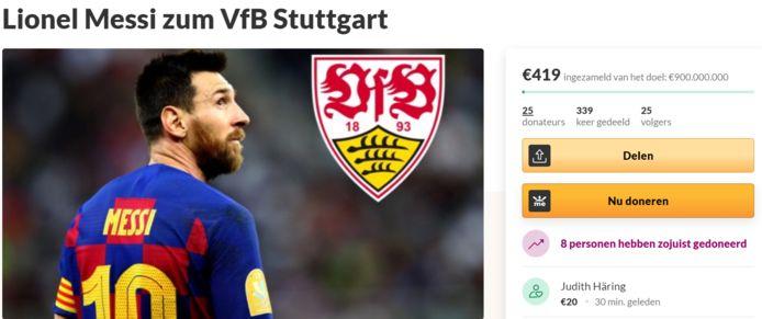 De fundraiser van een Stuttgart-fan voor Messi.