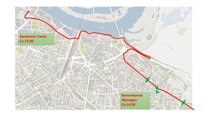 De route van Operation Market Garden 2019 door de stad zondag.