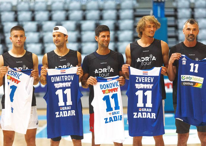 200619 -- ZADAR, June 19, 2020 -- Serbian tennis player Novak Djokovic C poses with Borna Coric 1st L, Grigor Dimitrov 2nd L, Alexander Zverev 2nd R and Goran Ivanisevic after a friendly basketball match ahead of the Adria Tour humanitarian tennis tournament in Zadar, Croatia, June 18, 2020. Adria Tour is organized by Serbia s tennis player Novak Djokovic in order to promote sports, positive values and fair play, and also to raise funds for those who need help. Zadar will host the tournament featuring Djokovic and top Croatian tennis players from June 19 to 21. /Pixsell via Xinhua SPCROATIA-ZADAR-TENNIS PLAYERS-BASKETBALL MarkoxDimic PUBLICATIONxNOTxINxCHN