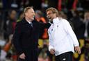 Hans-Joachim Watzke (l) en Jürgen Klopp voor Borussia Dortmund - Liverpool op 7 april 2016.