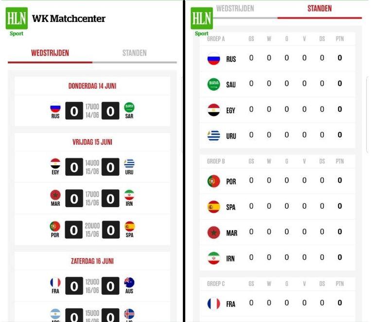 Het WK Matchcenter zoals dat er op de app uitziet. LINKS: een overzicht van de wedstrijden RECHTS: een overzicht van de standen