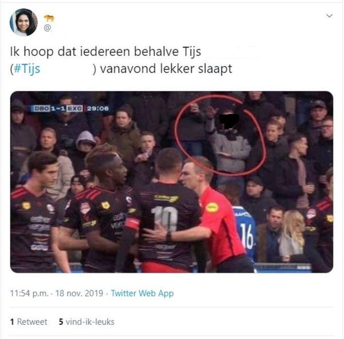 Eén van de berichten op social media over Tijs.