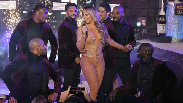 Mariah Carey tijdens haar nieuwjaarsoptreden op Times Square in New York Beeld afp