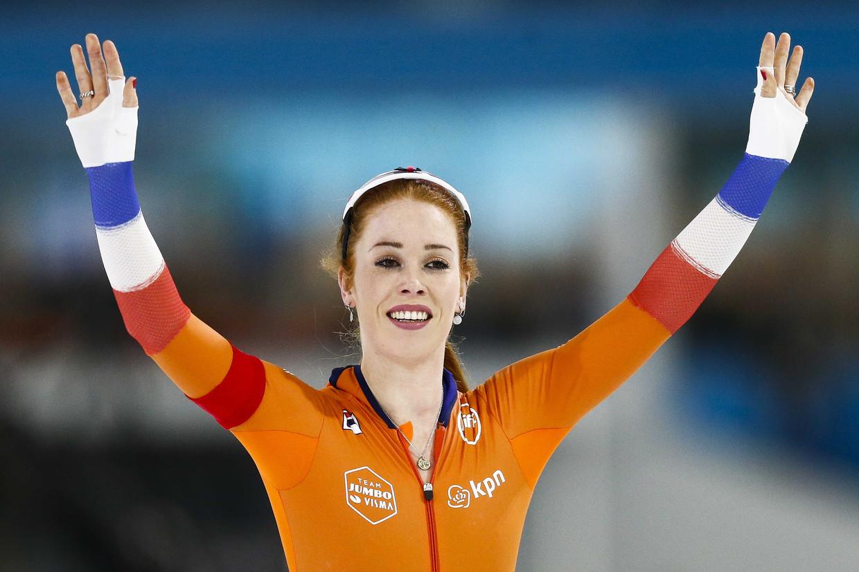 Antoinette De Jong na de 3000 meter.