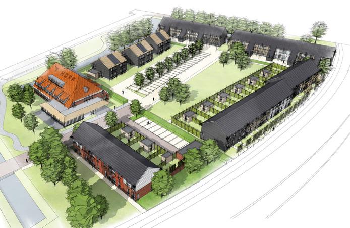 De te herbouwen boerderij en de nieuwe woningen op deeVan 't Hoff-lokatie in Zwijndrecht. Artist impression Toorman Architecten (boerderij) en Van Es Architecten (woningen)