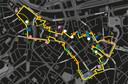 De route van lichtfestival Glow in Eindhoven (geel), spektakel (roze), artistiek (oranje), experimenteel (blauw), duurzaam project (groen) en lokaal project (wit).