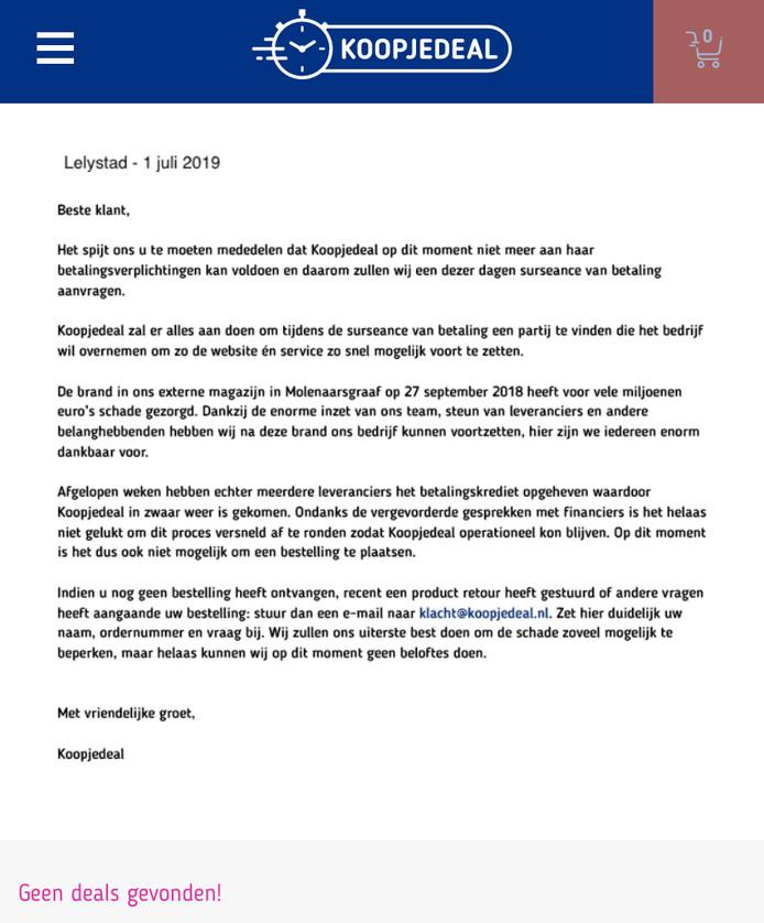 De website van Koopjedeal.nl maandagmiddag.