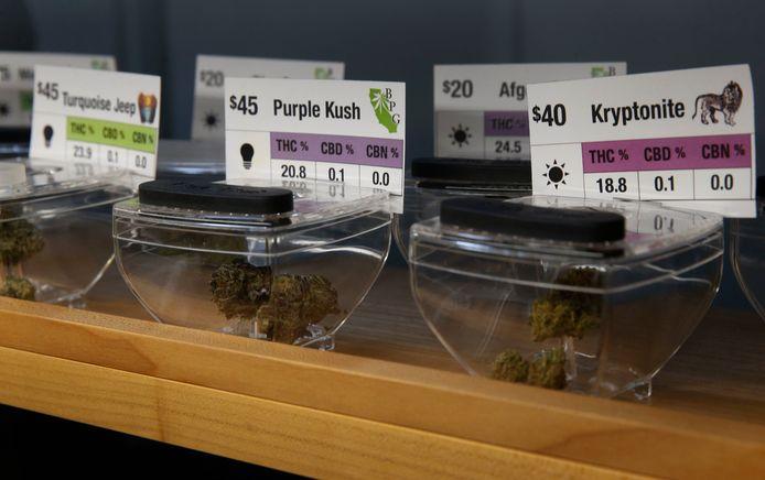 Cannabisproducten in een cannabisshop in Californië.