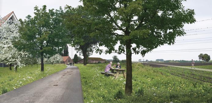 Impressie van een aangepaste weg die Tilburg-Noord met het buitengebied verbindt, met op de achtergrond een fiets/wandelbrug over de Burgemeester Bechtweg heen.