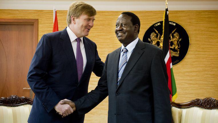 President Raila Odinga van Kenia (rechts) ontmoette vorig jaar prins Willem-Alexander tijdens een VN-conferentie over water en irrigatie. Odinga is de op drie na best verdienende leider ter wereld Beeld ANP
