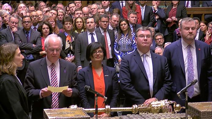 De resultaten van de stemming worden voorgelezen in het Britse Lager Huis.