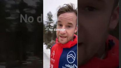 Rallyrijder geeft commentaar bij eigen crash (video)