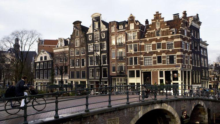 Historische panden aan de Prinsengracht aan de Amsterdamse grachtengordel. Beeld null