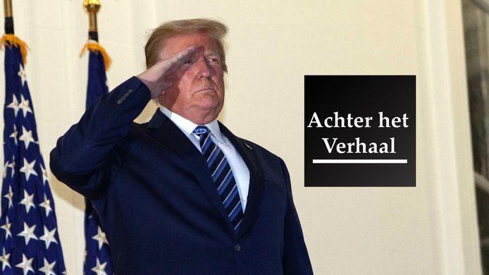 Donald Trump bij thuiskomst bij het Witte Huis.