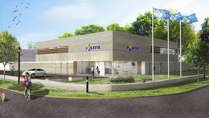 Impressie van de entree van het politiebureau, gezien vanaf de Hockeyweg.