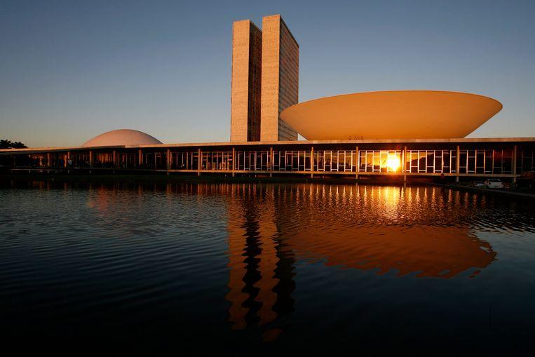 Het Braziliaanse Nationale Congres, ontworpen in 1960. Beeld AP