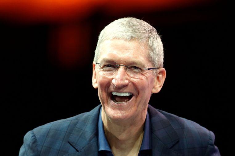Apple-CEO Tim Cook tijdens een conferentie in Californië deze week. Beeld reuters