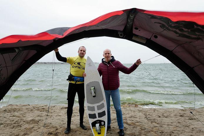 Roel Tieges en André Roessen, de mannen achter de plannen voor het watersportcentrum aan de Boulevard.