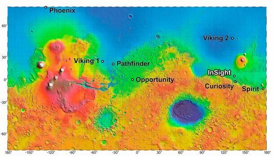 Een overzicht van de diverse landingsplekken van de Mars-missies.