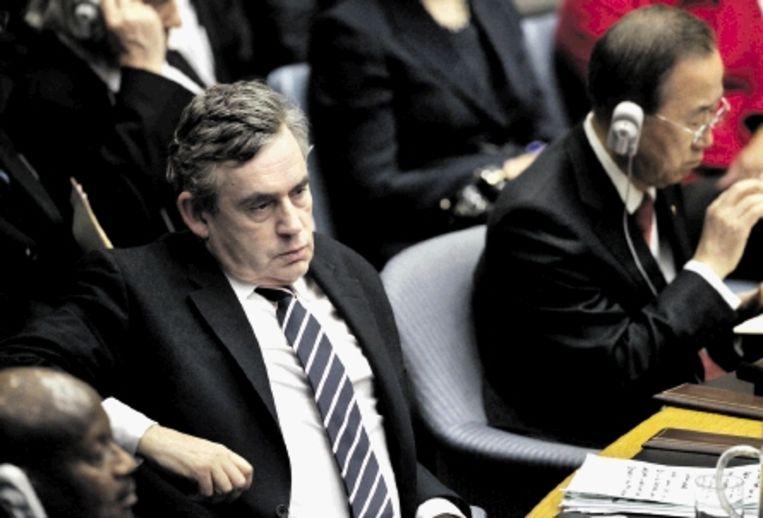 Gordon Brown, eerder deze week, tijdens een bijeenkomst van de Verenigde Naties in New York. (FOTO AFP) Beeld