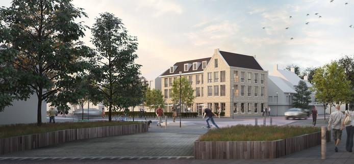 Het nieuwe complex dat op de hoek van het Piet van Thielplein en de Koppelstraat in Beek en Donk moet verrijzen.
