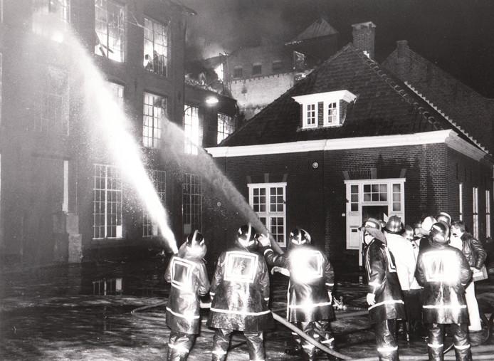 Brand in de textielfabriek aan de Heuvel (1979).