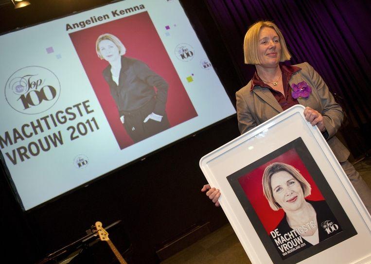 Angelien Kemna, topvrouw bij de Algemene Pensioen Groep, is in Felix Meritis in Amsterdam uitgeroepen tot de invloedrijkste vrouw in Nederland. Beeld anp