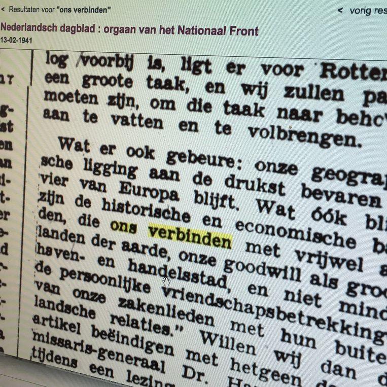 Nederlandsch dagblad, 1941: fascisten hielden ook van verbinden. Beeld