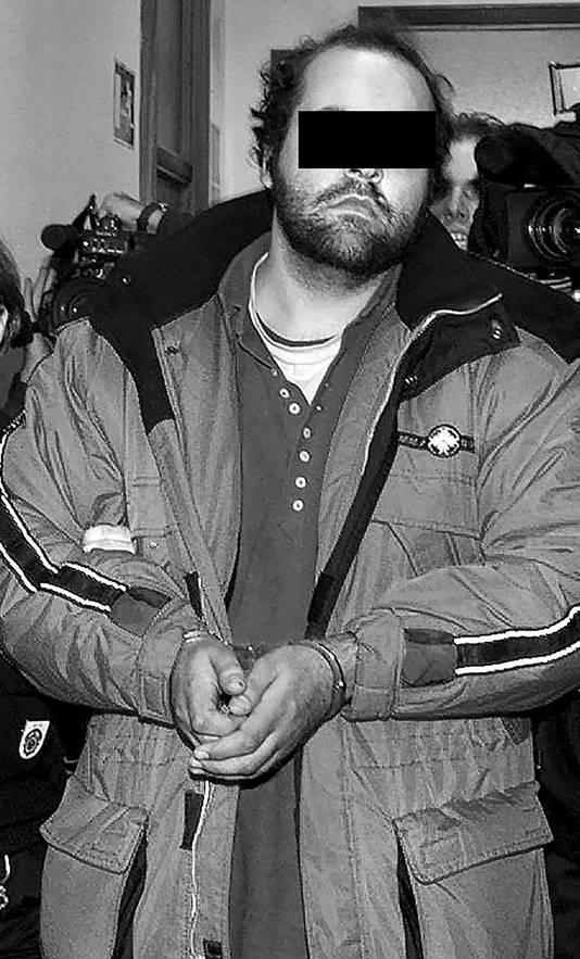 Mike J. bij zijn arrestatie.
