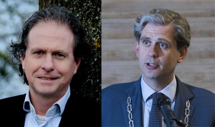 Links John van der Net, rechts burgemeester Wouter Kolff.