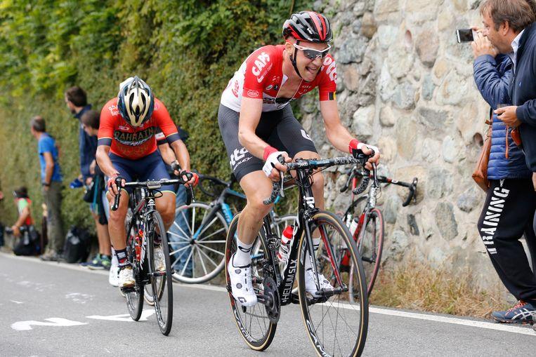 Pozzovivo in de achtervolging op Tim Wellens tijdens Milaan-Turijn vorig jaar.